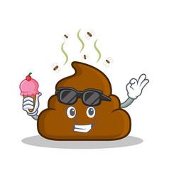 With ice cream poop emoticon character cartoon vector