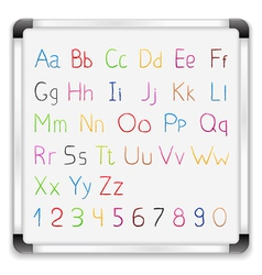 Hand drawn alphabet on whiteboard vector