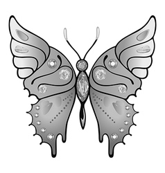 Butterfly grey colored gem rhinestones vector