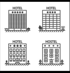 Hotels and hostel line icon set vector