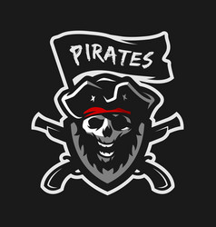 Skull of captain of pirates vector