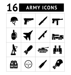 Set icons of army and military vector image