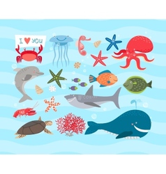 cute sea animals Dolphin and whale vector image