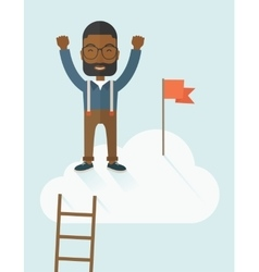 Black man standing on the top of cloud with red vector