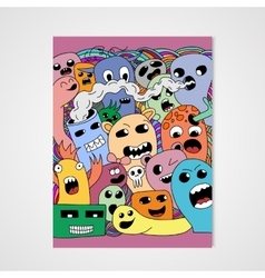 Funny cartoon monsters poster vector