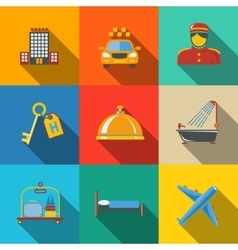 Hotel and service modern flat icons set on color vector