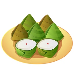 Stuffed dough pyramid vector