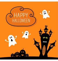 Haunted house pumpkins and ghost cloud in the sky vector