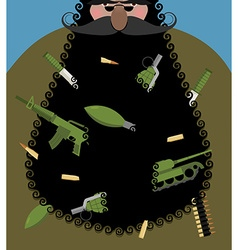 Santa claus is terrorist with black beard evil vector