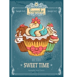 Cupcakes retro poster vector image