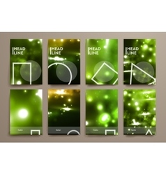 Set of brochure poster design templates in neon vector