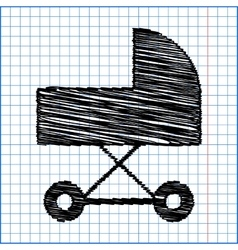 Pram icon with pen effect on paper vector
