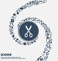Scissors icon in the center around the many vector