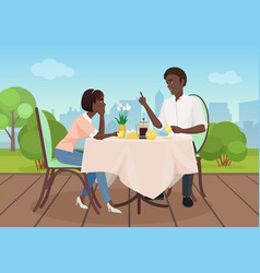 african american man and woman dinner in a vector image vector image