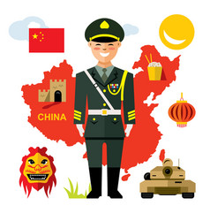 army of china flat style colorful cartoon vector image vector image