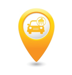 Car with vacuum cleaner icon map pointer yellow vector