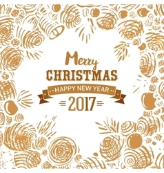Christmas card with hand drawn sketch vector