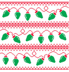 Christmas tree lights seamless pattern vector