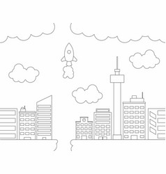 City in the sky line art seamless pattern vector