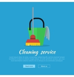 Cleaning Web Banner Bucket with Duster and Broom vector image vector image