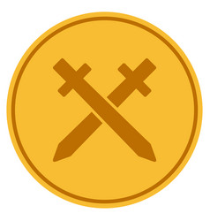 Crossing swords gold coin vector