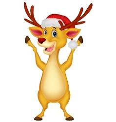 Cute deer cartoon waving vector image vector image