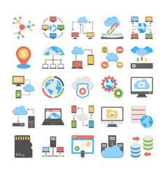 Data storage and web hosting flat icons vector