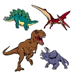 Dinosaurs Colored Icons Set vector image vector image
