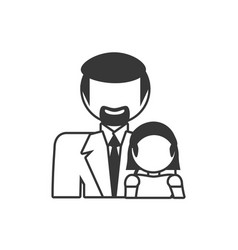 father and daughter family members outline vector image