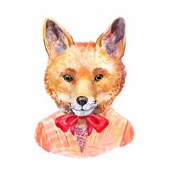 Fox hipster hand-drawn animals potrait vector