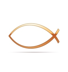 Gold Christian fish icon on white background vector image