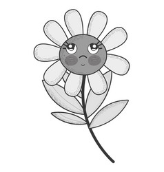 Grayscale kawaii flower plant thinking with cheeks vector