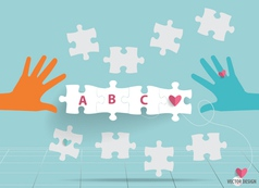 Hand with paper cut of puzzle vector