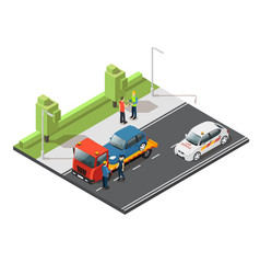 Isometric car evacuating service composition vector