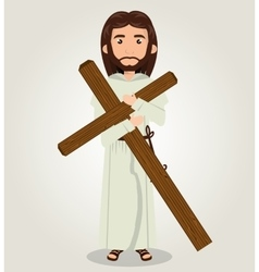 Jesus christ carrying cross design vector image