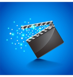 Movie clapper board on blue background vector image