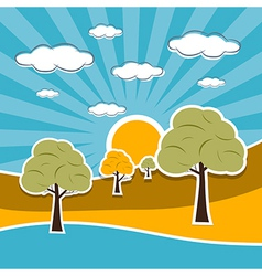 Nature Scenery Retro with Clouds Sun Sky Trees vector image vector image