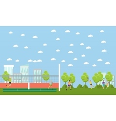 People playing tennis and badminton in a park vector