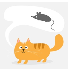 Red cat bubble talk mouse vector