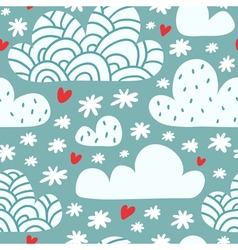 Seamless pattern with clouds and falling vector