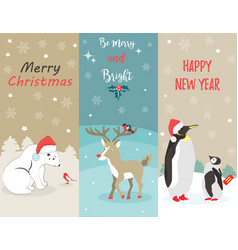 set of holiday greeting cards with funny animals vector image vector image