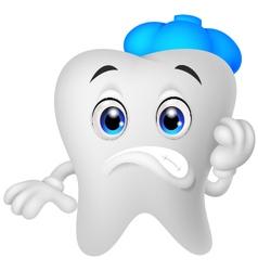 Sick tooth cartoon vector