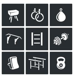 Sports equipment icons set vector
