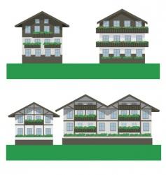 Swiss chalet houses vector