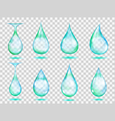 transparent turquoise drops vector image