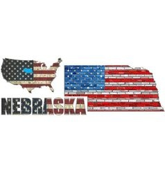 USA state of Nebraska on a brick wall vector image vector image