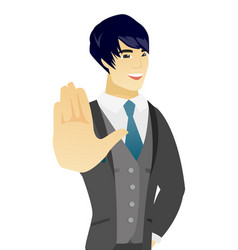 Young asian groom showing palm hand vector