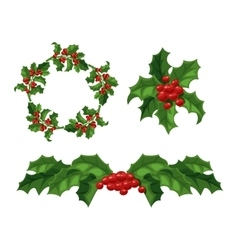 Christmas berry decoration set vector