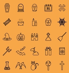 Halloween line color icons on orange background vector