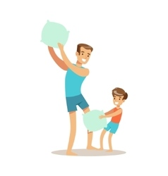 Dad Pillow Fighting With Son Loving Father vector image